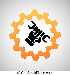 construction gear icon hand wrench