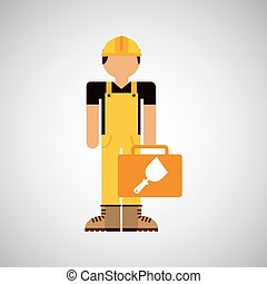 character construction man with spatula vector illustration...