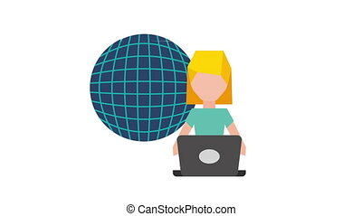 computer user technology icon video Animation HD