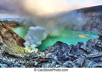 Crater Ijen - Crater of volcano Ijen. Java. Indonesia.