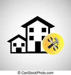 construction remodel hammer and wrench icon graphic -...