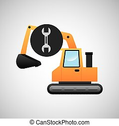excavator machine wrench tool graphic vector illustration...