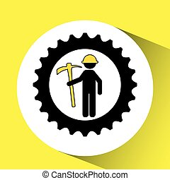 man mining gears pickax icon vector illustration
