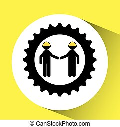 character man worker construction and gears icon