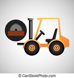 forklift truck construction sawmill icon graphic vector...