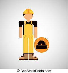 character construction man with sawmill vector illustration...