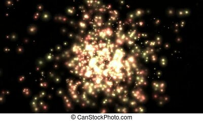 color particle light,like as fireflies or fireworks.