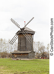 Old wooden windmill of the 18th century in Suzdal, Russia