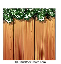 Winter scene background - Wooden background with fir...