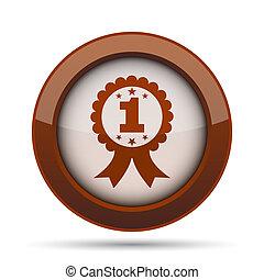 primero, premio, cinta, icono