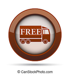 Free delivery truck icon. Internet button on white...