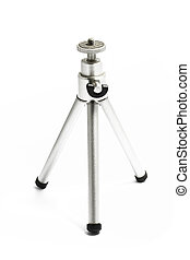 Small aluminium tripod on white background
