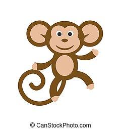 Happy cartoon monkey illustration. - Happy cartoon monkey...