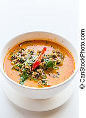 River snail red curry with Acacia pennata on white...