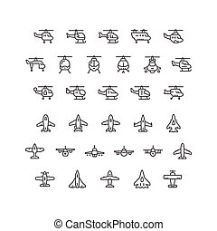 Set line icons of helicopters and planes isolated on white....