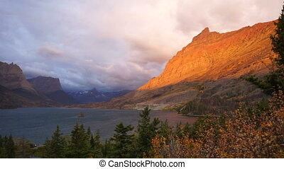 Wild Goose Island St Mary Lake Glacier National Park Sunrise...