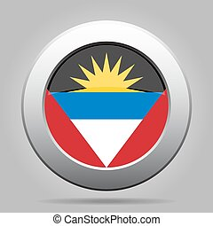 flag of Antigua and Barbuda, shiny metallic button -...