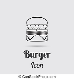 Greyscale Icon of Burger Designed in Flat Line Style with...