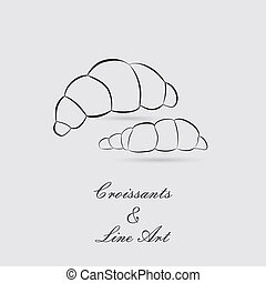 Greyscale Icons of Croissants - Greyscale Icon of Croissants...