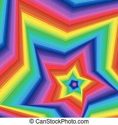 Digital twisted spectrum pentagonal star forms - Concentric...