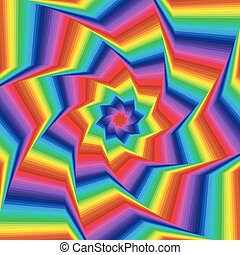 Whirling spectrum colors octagonal star forms - Concentric...