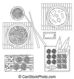 Japanese food vector contour drawing in black and white....