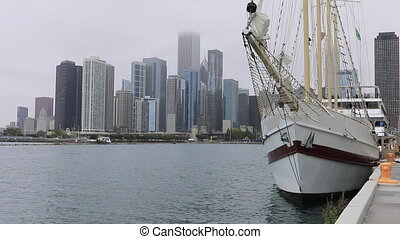 Chicago skyline on a misty day from Navy Pier - The Chicago...