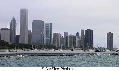 Chicago skyline and wavy harbor - The Chicago skyline and...
