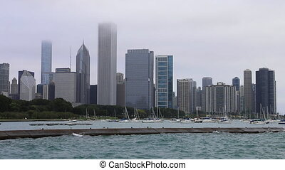 View of Chicago skyline on a foggy day