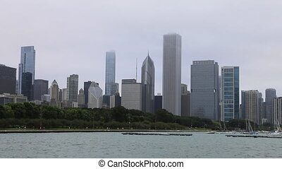 Chicago skyline on a foggy day