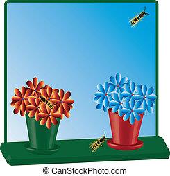 Two flowerpots in window vctor