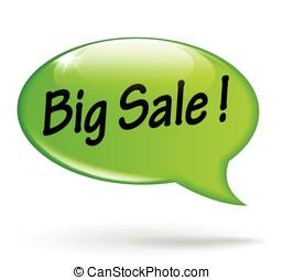 big sale green speech bubble