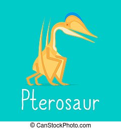 Pterosaur dinosaur colorful card for kids playing. Vector...