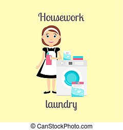 Housekeeper woman doing laundry