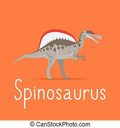 Spinosaurus dinosaur colorful card for kids playing vector...