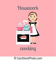 Housekeeper woman cooking