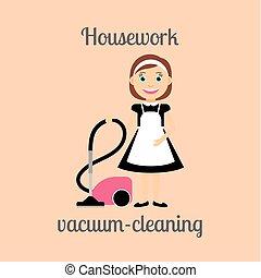 Housekeeper vacuum cleaning - Housekeeper woman make...
