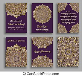 Greeting Cards Golden Luxury - Vector cards set. Wedding...