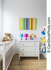 Bright child room with cradle - Bright adorable child room...