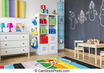 Colorful child room - Part of colorful child room with...
