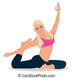 fitness woman exercising, vector illustration
