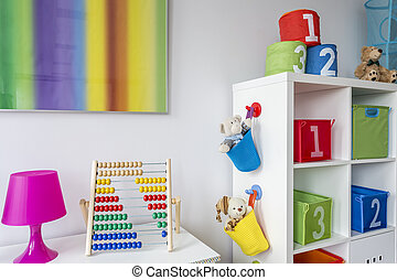 Child room with colorful painting - View of a child room...