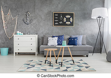 Living room with nautical decorations - Modern grey living...
