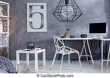 Home office area with minimalistic furniture