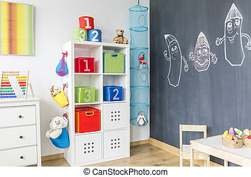 Child room with cabinet table - Part of modern child room...