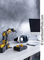 Desktop with electronic prototype robots - Closer shot of...