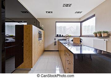 Kitchen in modern style - New design kitchen with wooden...