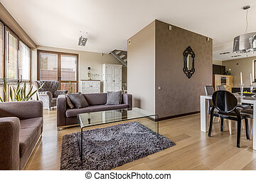 Living room and dining area combined - Modern living room...