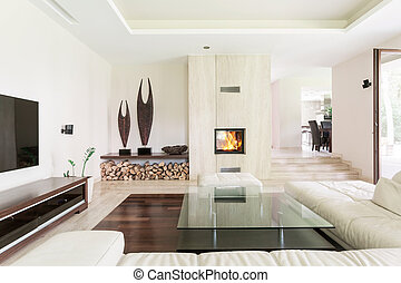 Bright living room - Spacious area of living room with large...