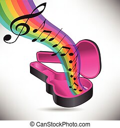 A rainbow of music flows from a guitar case in this music...